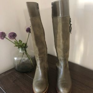 Cole Haan olive green suede/leather boots